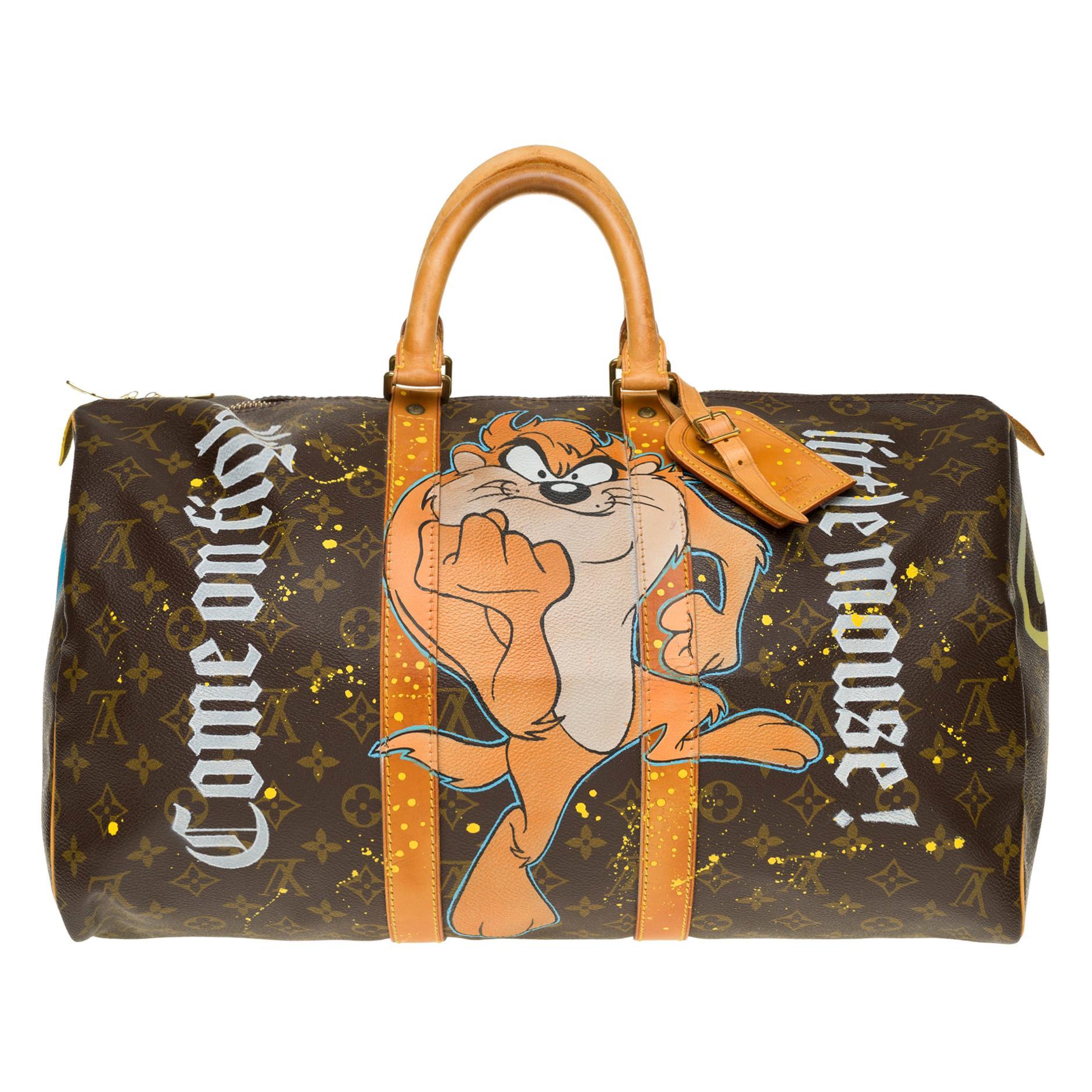 "Travel bag Louis Vuitton 45 Monogram customized ""Mickey Vs Taz"" by PatBo"