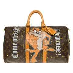 "Travel bag Louis Vuitton 45 Monogram customized ""Mickey Vs Taz"" by PatBo"