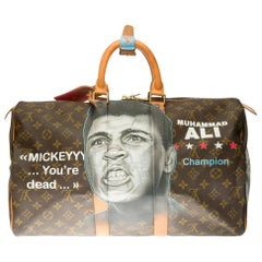 "Travel bag Louis Vuitton 45 Monogram customized ""Muhammad Ali Vs Mickey"""