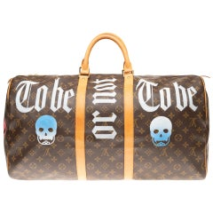 "Travel bag Louis Vuitton Keepall 55 customized ""Be or not to be "" by PatBo!"