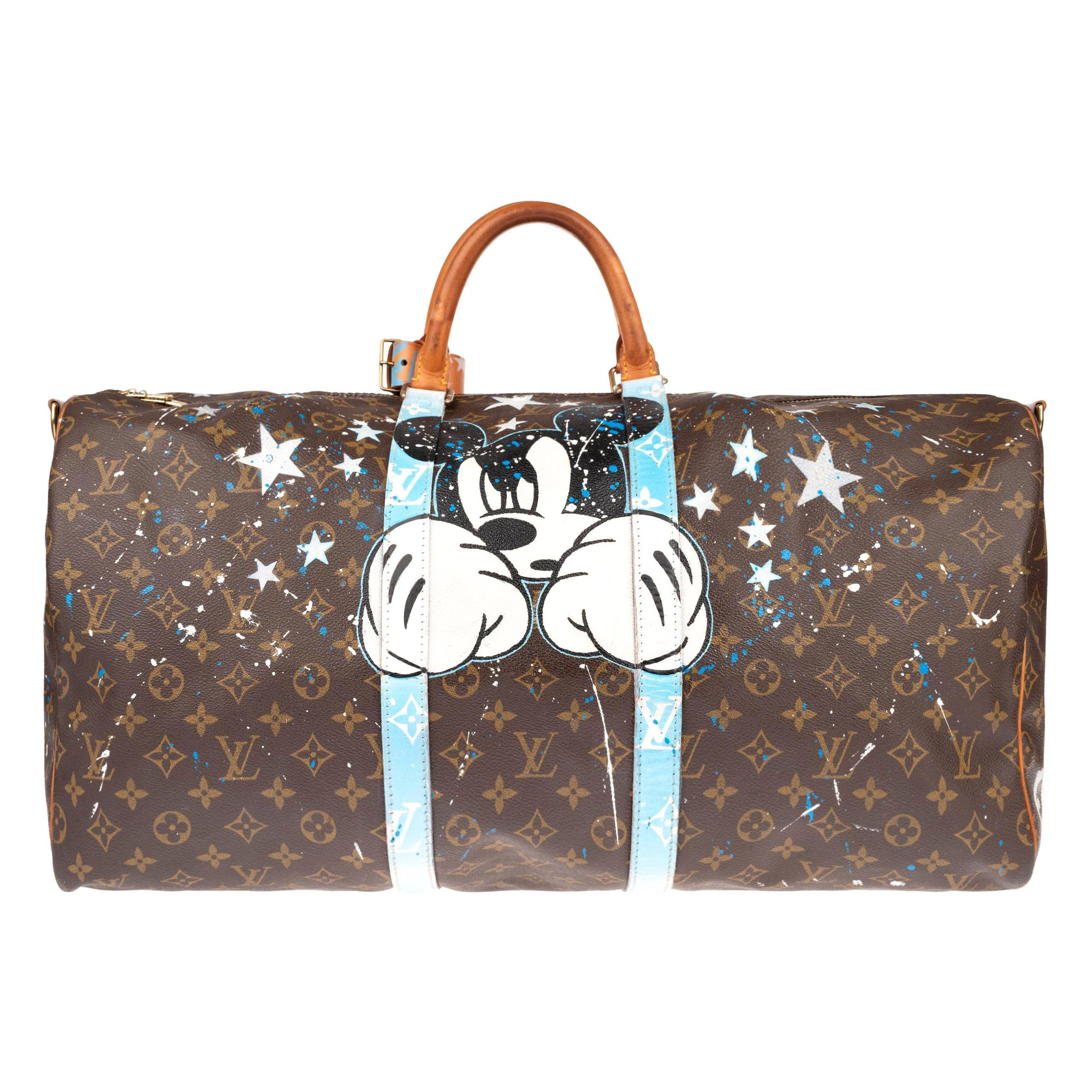 """Travel bag Louis Vuitton Keepall 55 customized """"Fight Club"""" by the artist PatBo!"""