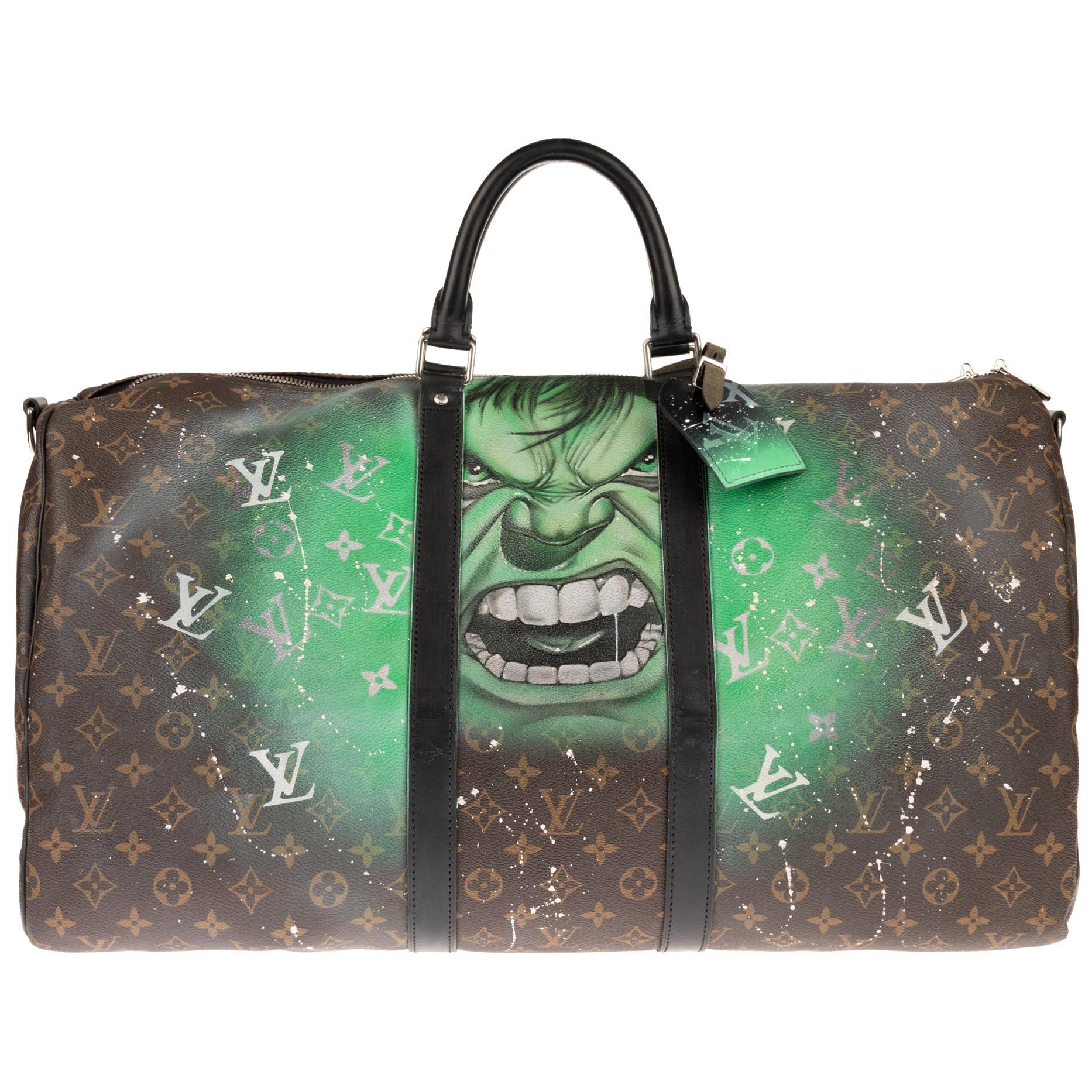 Travel/Sport Louis Vuitton Keepall 55 bag in Monogram Canvas customized !