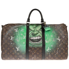 Travel/Sport Louis Vuitton Keepall 55 bag in Monogram Canvas customized !