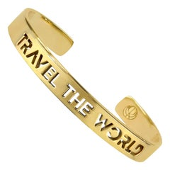 Travel The World Bangle Bracelet Yellow Gold Plated by Cristina Ramella