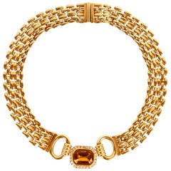 Traveller Bijoux Cascio 1970s Gold Plated Amber Strass Gilted Necklace, Italy