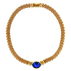 Traveller Bijoux Cascio 1970s Gold Plated Blue Strass Gilted Necklace Italy