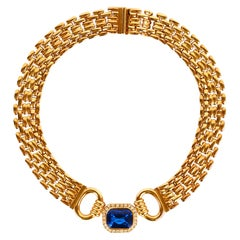 Traveller Bijoux Cascio 1970s Gold Plated Blue Strass Gilted Necklace, Italy