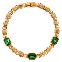 Traveller Bijoux Cascio 1970s Gold Plated Green Strass Gilted Necklace, Italy