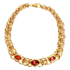 Traveller Bijoux Cascio 1970s Gold Plated Red Strass Gilted Necklace, Italy