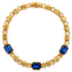 Traveller Bijoux Cascio 1970s Gold Plated with Blue Strass Gilted Necklace Italy