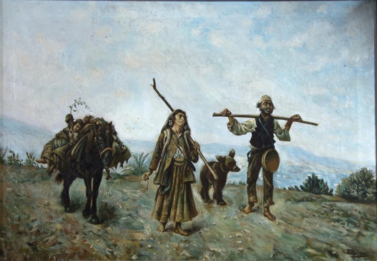 Oil on canvas showing a natural background landscape, barely sketched, to give prominence to the figures that are moving forward in the first term. The man, to the right, carries a cane on his shoulders and a series of elements, besides being