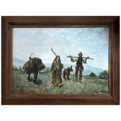 """Travellers"" Oil on Canvas, Signed ""a. Briones"", 20th Century"