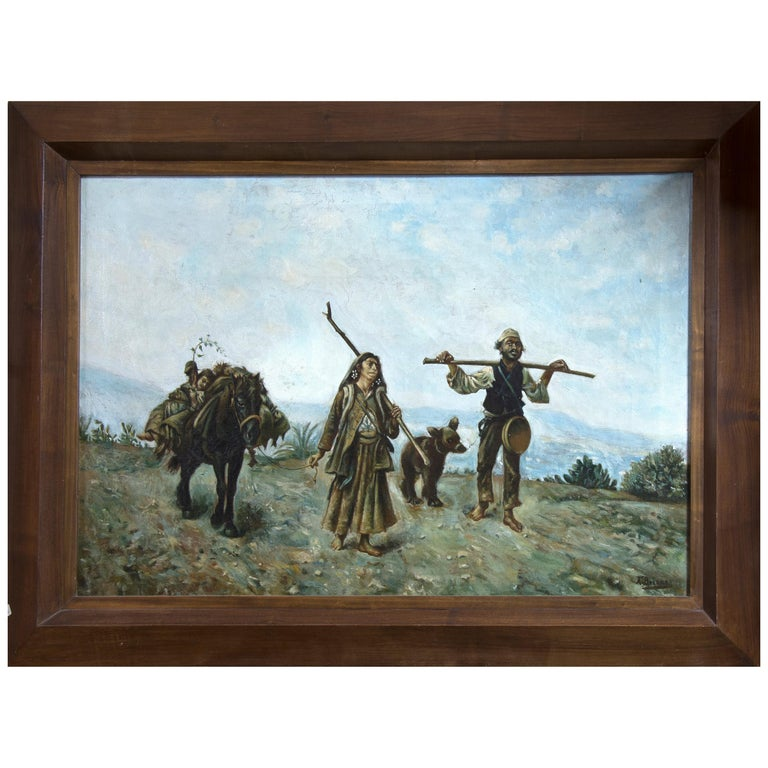 """Travellers"" Oil on Canvas, Signed ""a. Briones"", 20th Century For Sale"