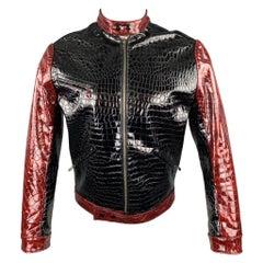 TRAVER RAINS Black & Burgundy Alligator Textured Vinyl Biker Jacket