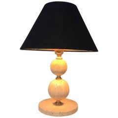 Travertin and Brass Table Lamp, Black Shintz Gilt Inside