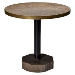 Travertine and Brass Bistro Table