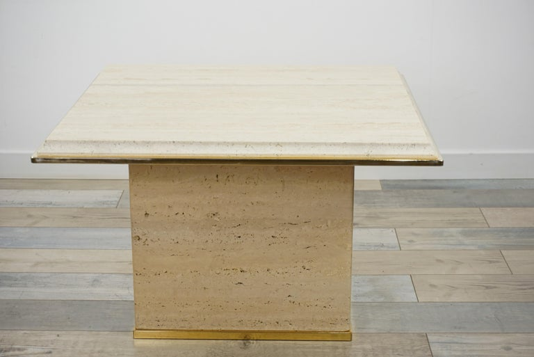 Travertine and Brass Coffee Table Hollywood Regency Style For Sale 5