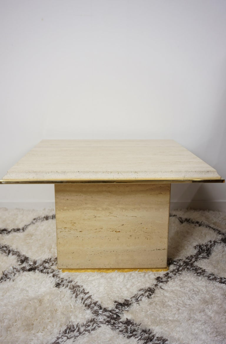 Travertine and Brass Coffee Table Hollywood Regency Style For Sale 6