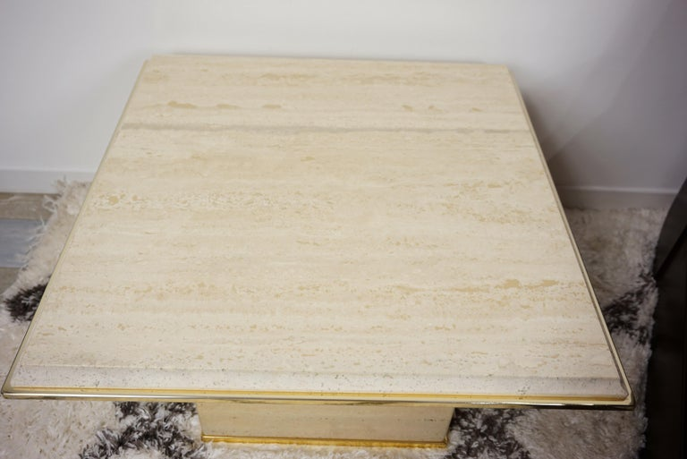 Travertine and Brass Coffee Table Hollywood Regency Style For Sale 7