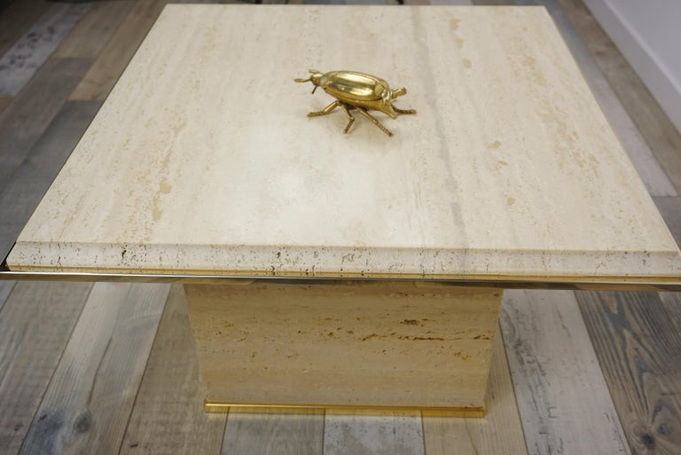 Travertine and Brass Coffee Table Hollywood Regency Style For Sale 2