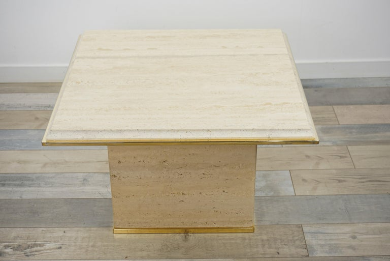 Travertine and Brass Coffee Table Hollywood Regency Style For Sale 4