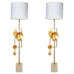 Travertine and Brass Floor Lamps