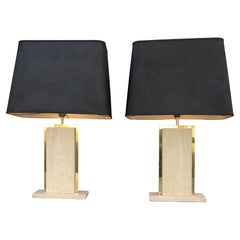 Travertine and Brass Sculptural Mid-Century Modern Table Lamps, Belgium 1970's
