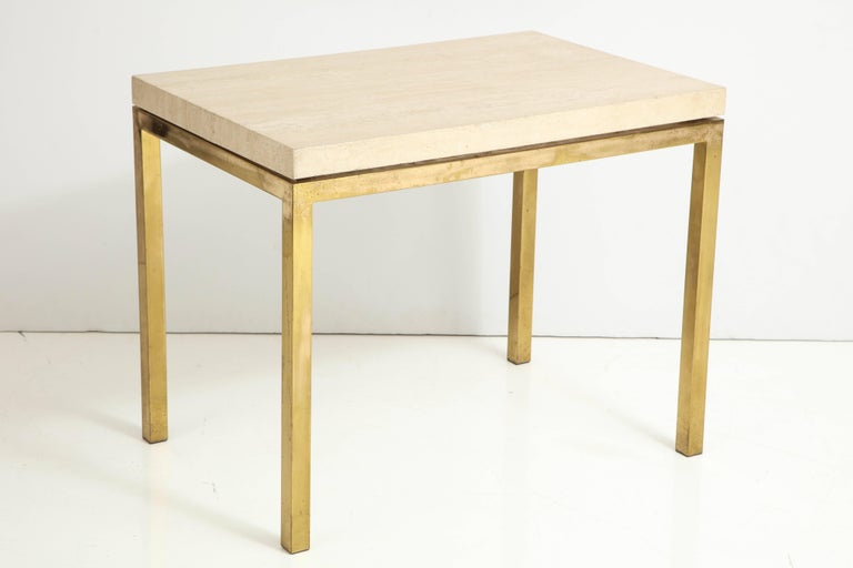Elegant brass and travertine table, thick top on square tubing brass frame in original finish 
