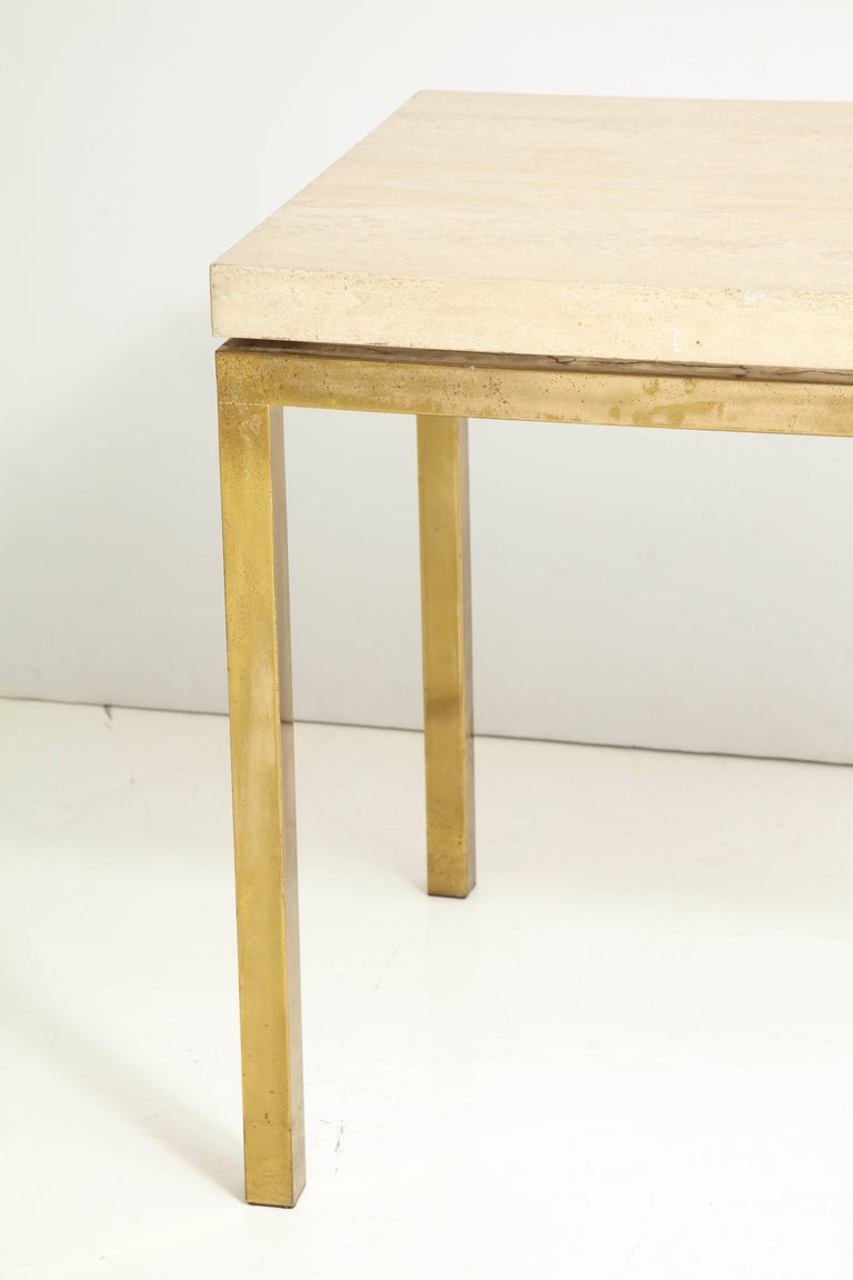 Mid-Century Modern Travertine and Brass Table by Jansen For Sale