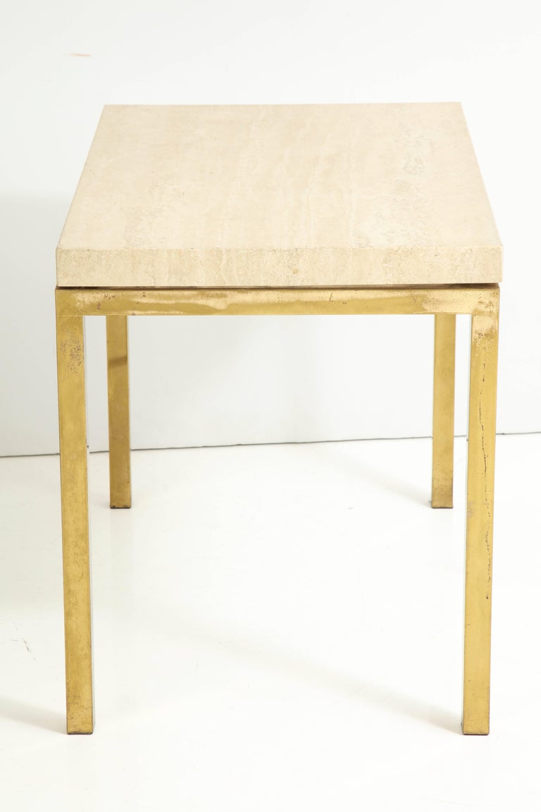Travertine and Brass Table by Jansen For Sale 2