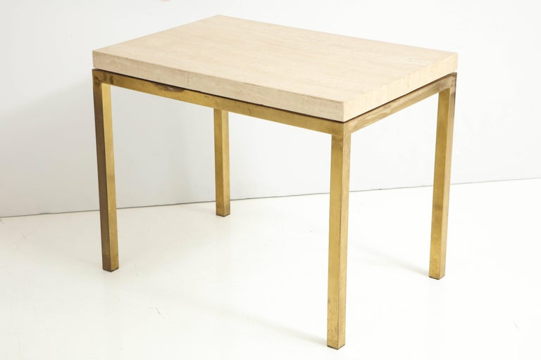 Travertine and Brass Table by Jansen For Sale 3