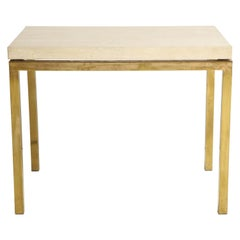 Travertine and Brass Table by Jansen
