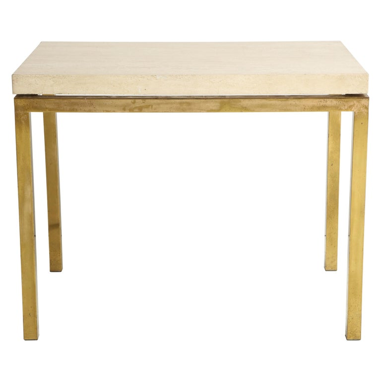 Travertine and Brass Table by Jansen For Sale