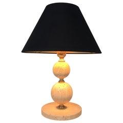 Travertine and Brass Table Lamp, Black Shintz Gilt Inside, French