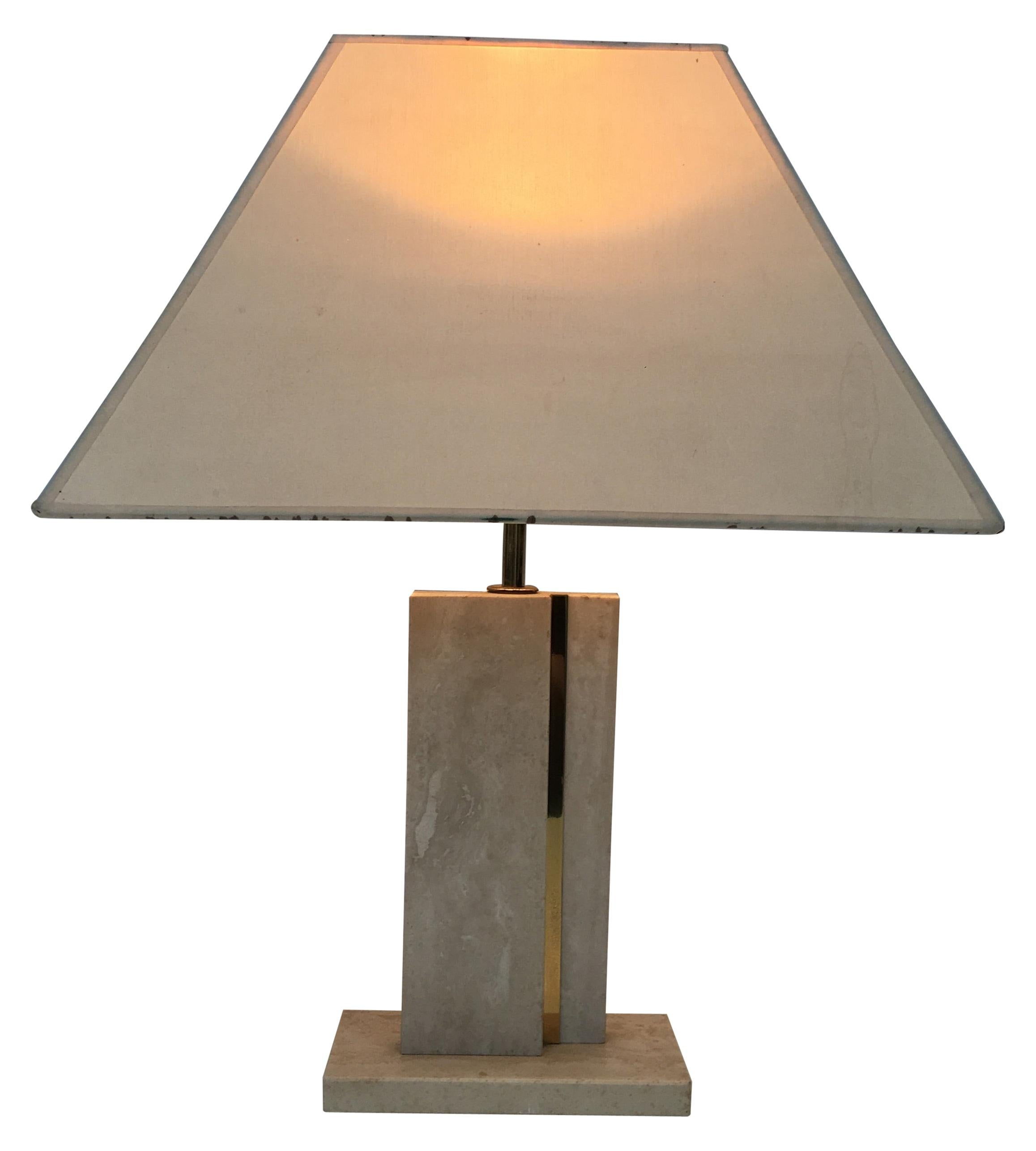 Travertine and Brass Table Lamp with Original Shade, French, circa 1970