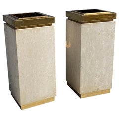 Travertine and Brass Trash Cans / Planters
