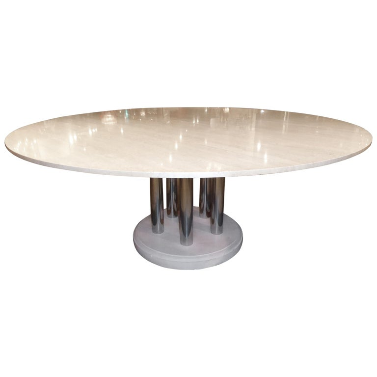 Travertine And Chromed Metal Dining Table By Pace Collection For