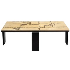 Travertine and Ebonized Wooden Coffee Table