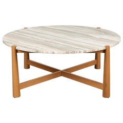 Travertine and Oak Round Bronson Coffee Table by Lawson-Fenning