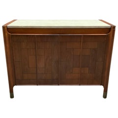 Travertine and Patchwork Cabinet in the Manner of Bert England