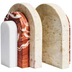Travertine and Rosso Art Deco-Inspired Livelli Bookends by Greg Natale