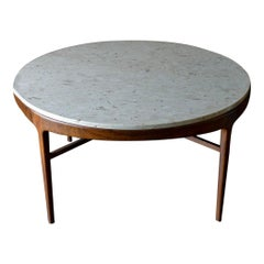 Travertine and Sculpted Walnut Dining or Bistro Table, ca. 1965