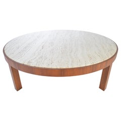 Travertine and Walnut Cocktail Table Attributed to Edward Wormley for Dunbar