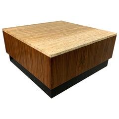 Travertine and Walnut Midcentury Coffee Table on a Black Plinth Base