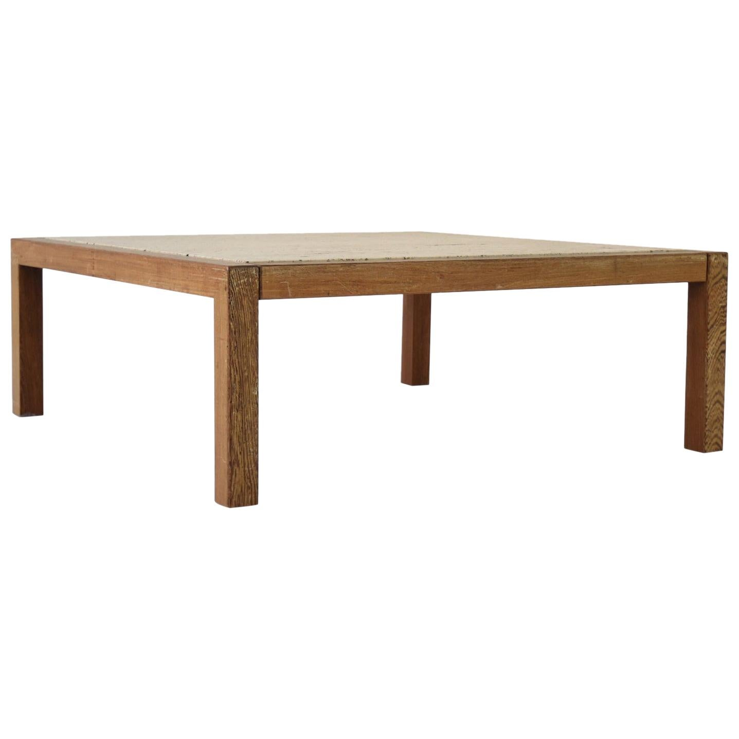 Travertine and Wenge Coffee Table from Belgium, 1950s