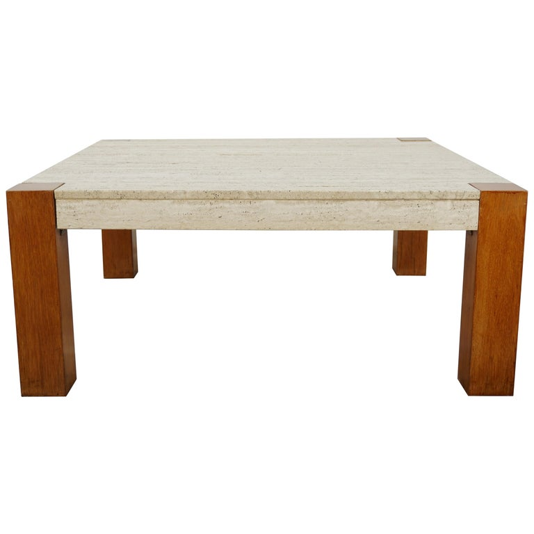 Travertine And Wood 1960s Design Large Square Coffee Table For Sale