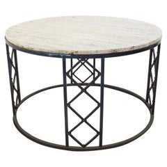 Travertine and Wrought Iron Circular Coffee Table, 1940s