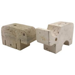 Mid Century Modern Italian Travertine Animals Sculpture by Mannelli Bros, 1970s