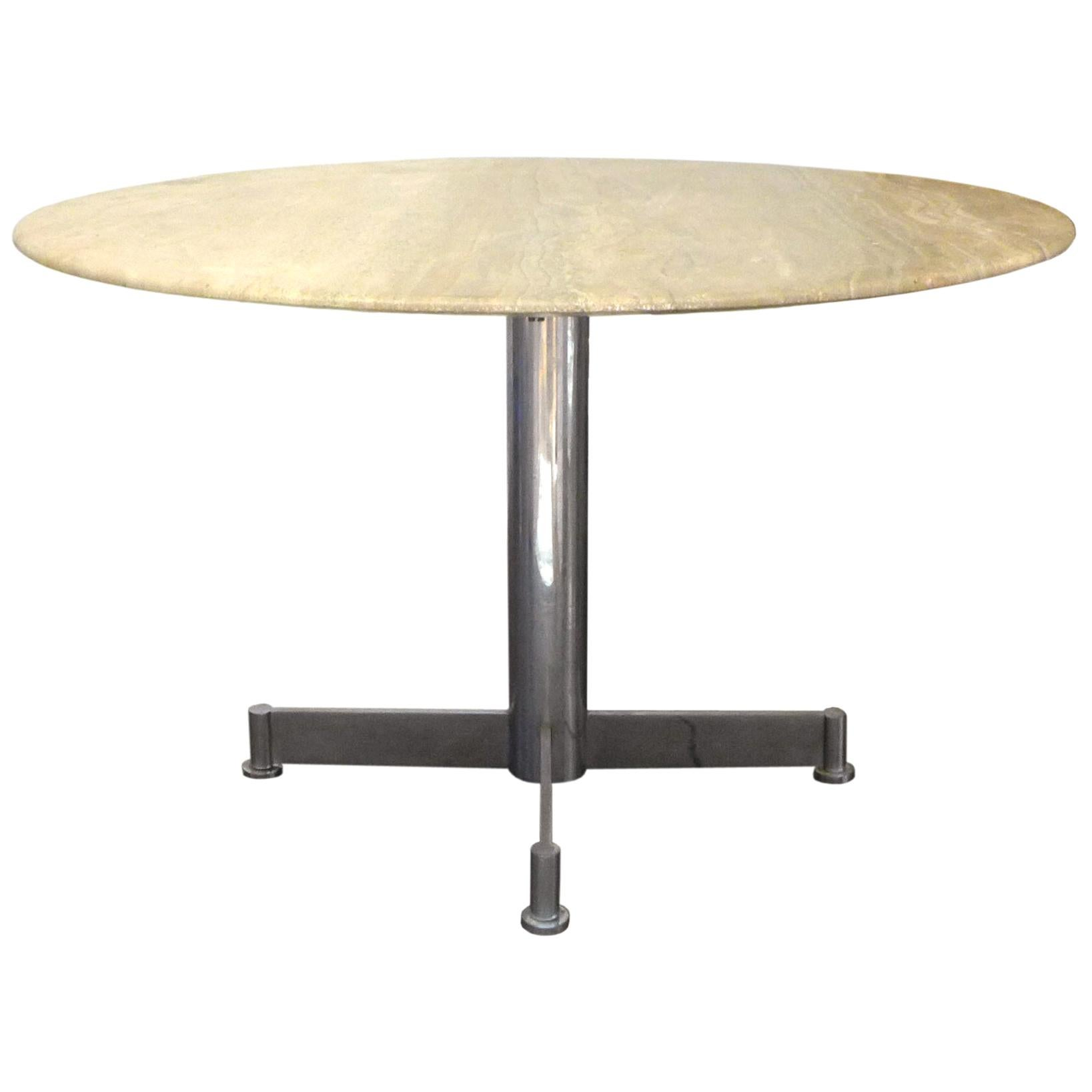 Travertine & Chrome Steel Round Dining Table
