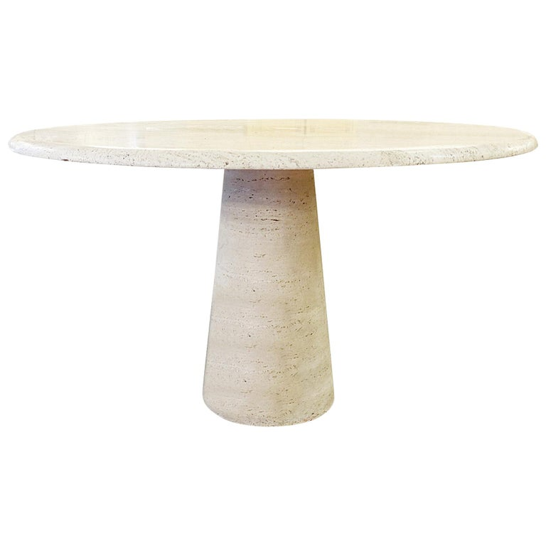 Travertine Circular Dining Table in the Style Mangiarotti For Sale